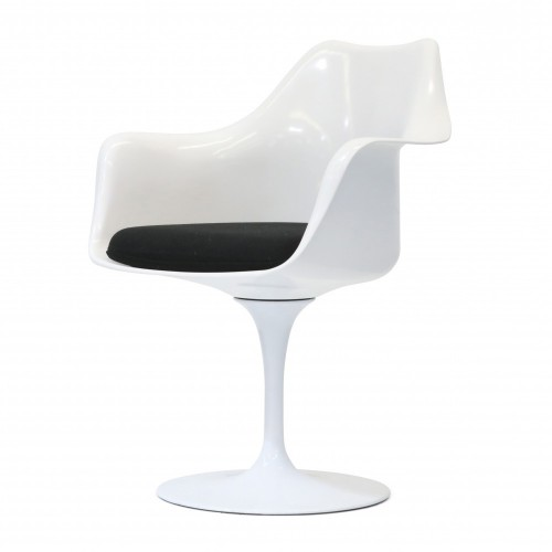 Saarinen Tulip chair white with armrests cushion black