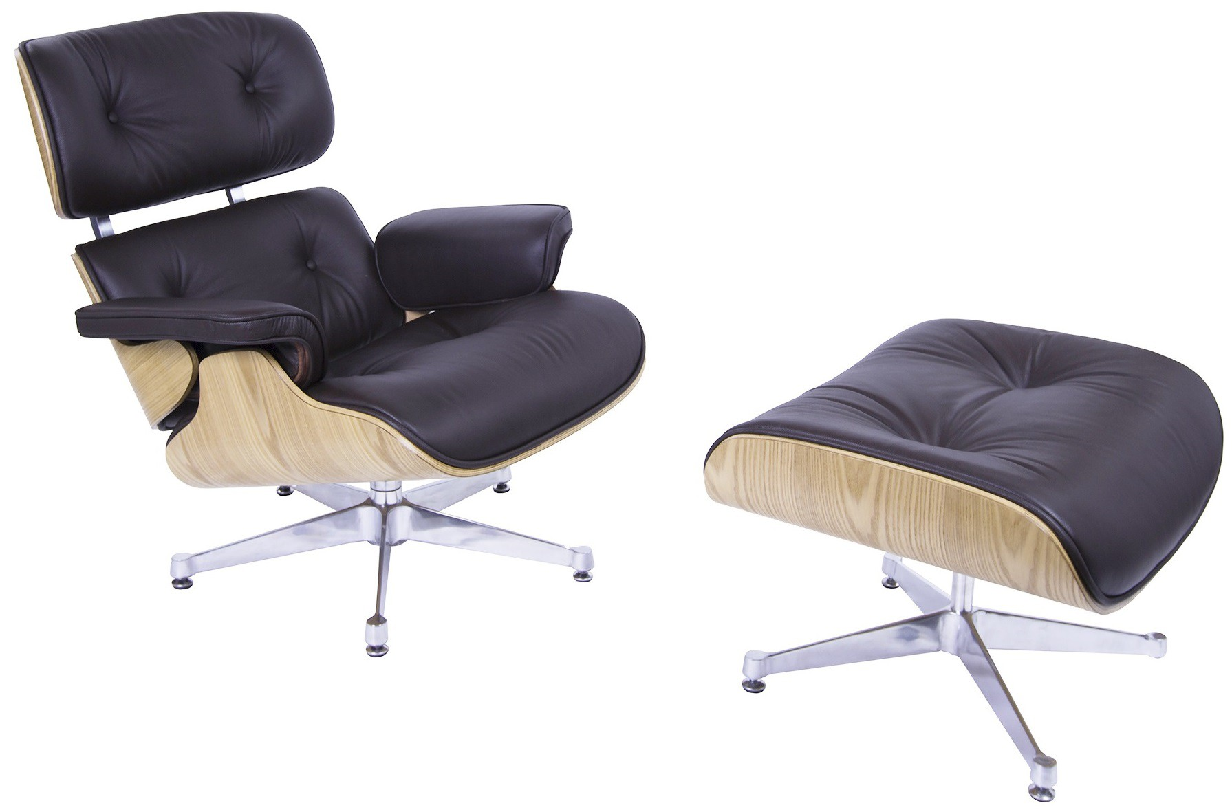 Eames Lounge Stoel.Charles Eames Lounge Chair With Hocker Ea670 Brown