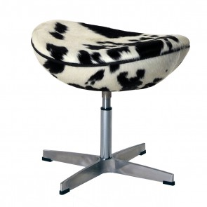 EGG footstool cowhide black white
